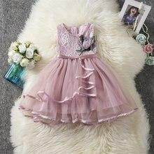 Robe Tutu en dentelle à fleurs pour filles, vêtements de fête pour enfants de 2 3 4 6 ans