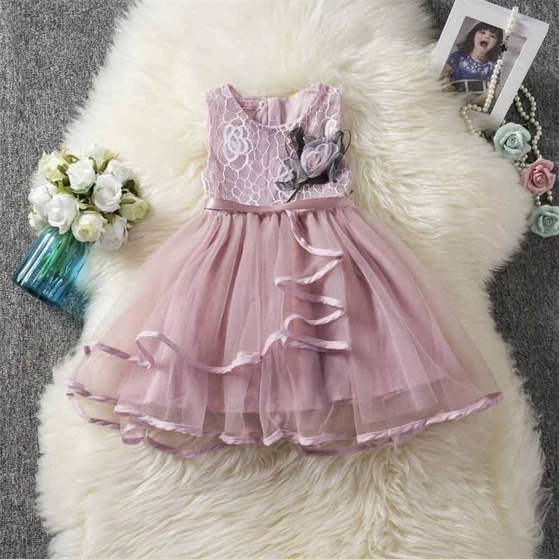 Vestidos de encaje con tutú para niñas y niñas de flores, ropa para fiestas de princesas, Vestidos de niña de 2 a 3 a 4 a 6 años