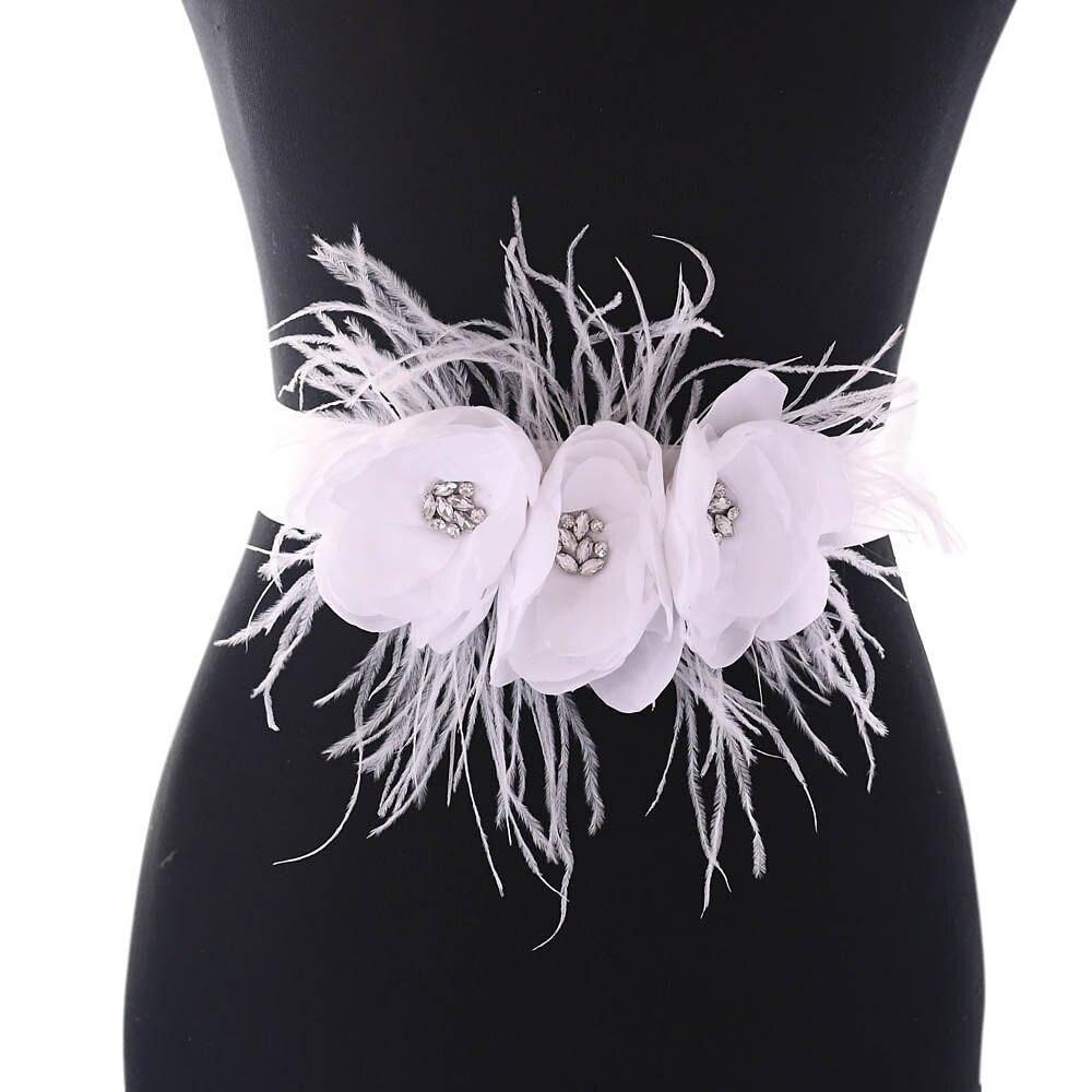 TRiXY S438 Charming Flowers Wedding Belt Rhinestone Belt Beaded Waistband Bridal Belt Bridal Sash Cummerbund Wedding Dress Belt