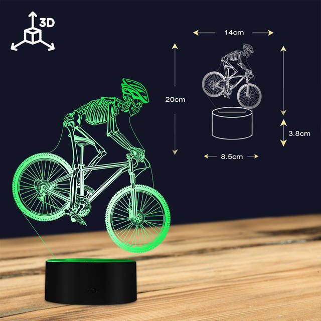 SKULL RIDING MOUNTAIN BIKE 3D LED LAMP