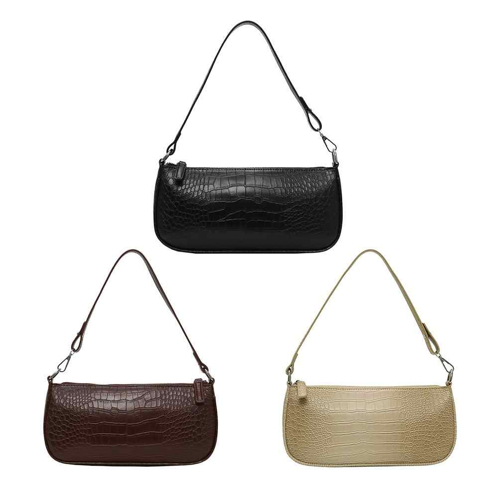 Dropshipping Retro Alligator Pola Wanita Messenger Flap Handbags 2020 New Pu Jalan Santai Padat Ritsleting Tas Bahu