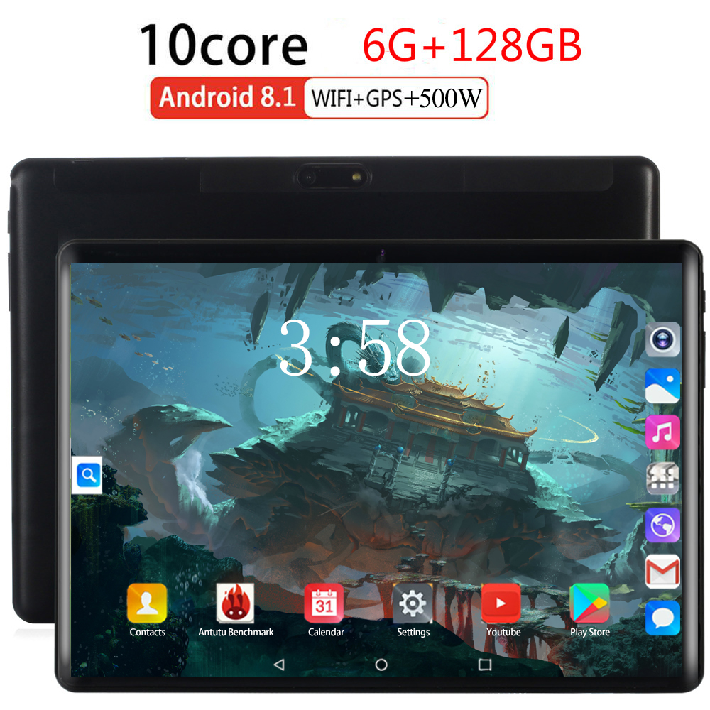10.1 Inch 2.5d Screen Tablet Deca Ten 10 Core 6GB 128GB ROM Dual SIM Card 4G LTE 8.0 MP GPS Android 8.0 Google IPS The Tablet Pc