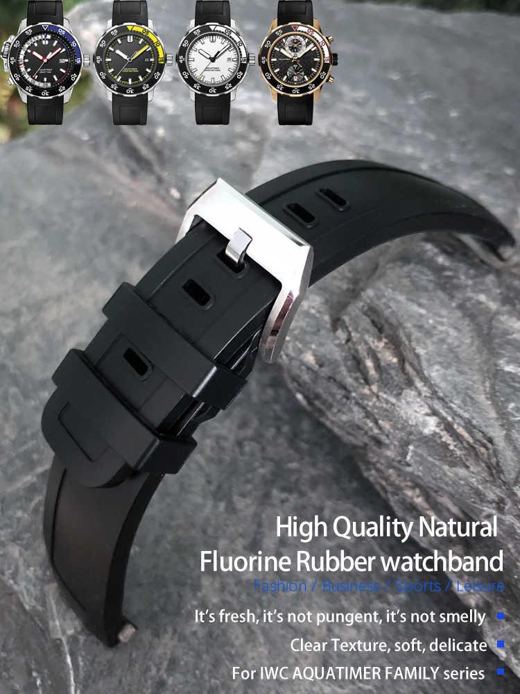 22mm yüksek kaliteli flor lastik saat kayışı için IWC AQUATIMER aile IW376708/356801/356810 Watchband aksesuarları erkekler için