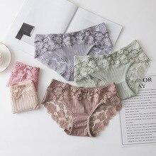 Lace Panties Lingeries Briefs Knickers Underwear Flowers Female White Women Sexy Stripe