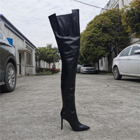 real photo Stiletto Leather Women Thigh High Crotch Boots Pointed Toe Sexy Ladies High Heel Runway Trendy Shoe Woman Overknee