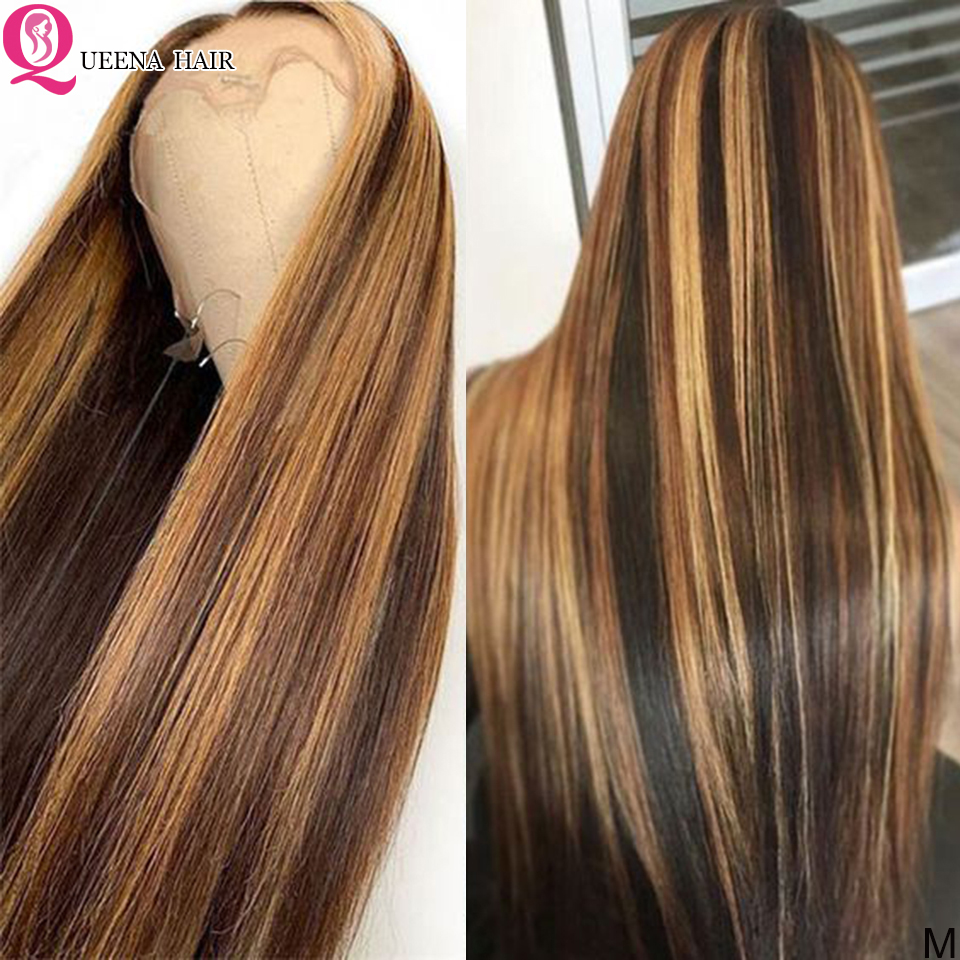 13X6 Highlight Lace Front Human Hair Wigs Straight Ombre Blonde Highlighted 360 Lace Frontal Wig Remy Peruvian Brown Wigs 150%