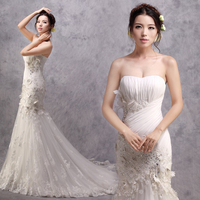 free shipping 2017 sexy fish tail fashion brides white long organza plus size Venice lace Mermaid wedding dresses bridal gowns