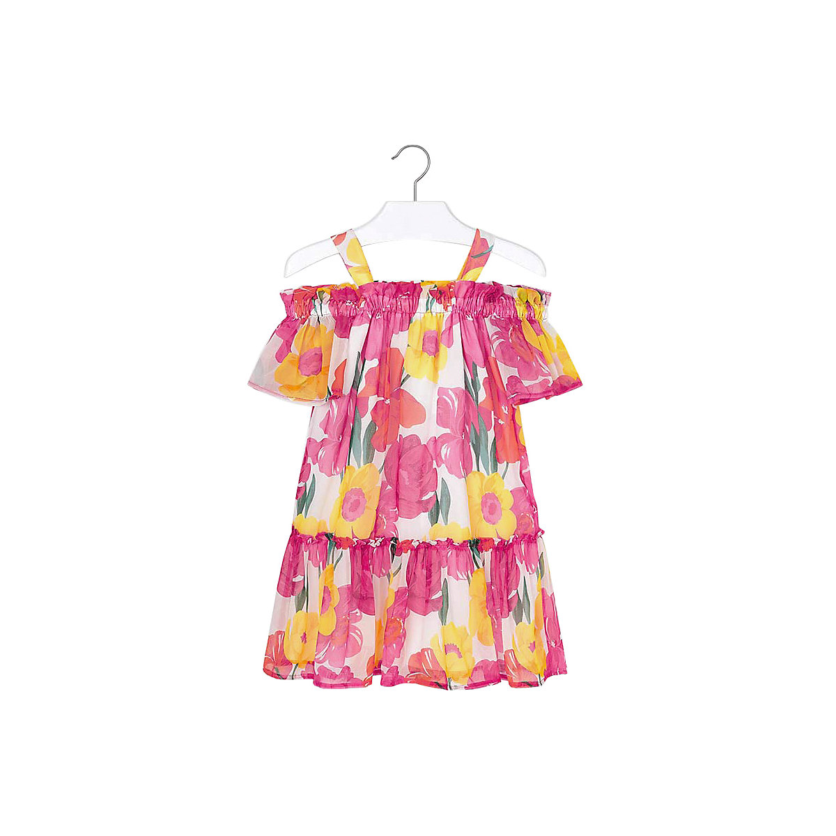 Фото - MAYORAL Dresses 10687243 Girl Children fitted pleated skirt Orange Polyester Casual Floral Knee-Length Sleeveless Sleeve box pleated floral volume skirt