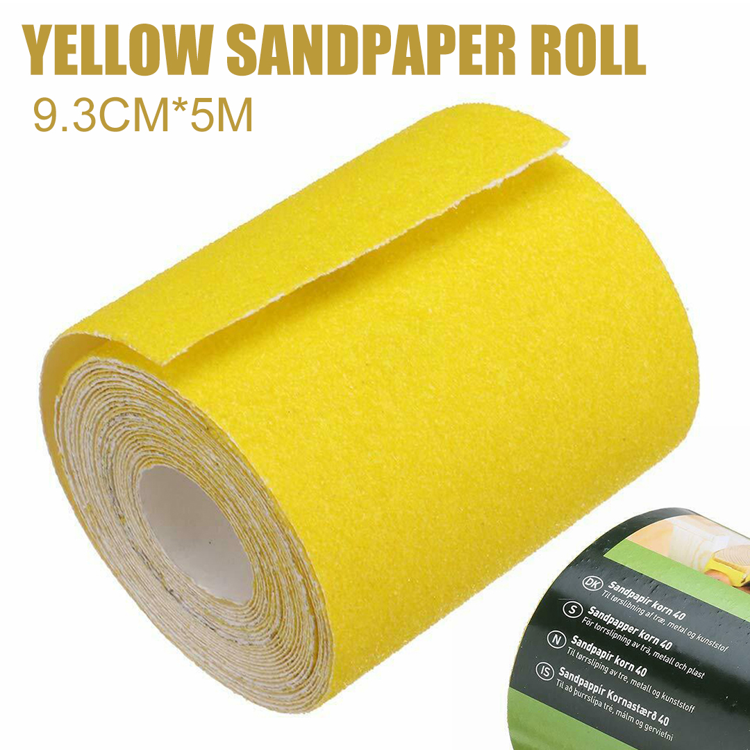 5M Grit 120 Fast Sandpaper 1pc Yellow Aluminium Oxide Sanding Roll Woodwork Metalwork Hand Abrasive Tool
