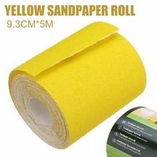 5M Grit 120 Fast Sandpaper 1pc Yellow Aluminium Oxide Sanding Roll Woodwork Metalwork Hand Abrasive Tool