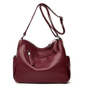 Image 4 - Hot Soft Leather Bolsa Luxury Ladies Hand Bags Female Crossbody Bags for Women Shoulder Messenger Bags Thread Sac A Main Femme
