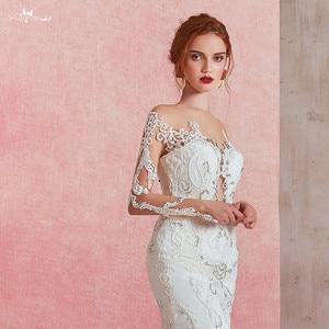 Image 2 - RSW1581 Sexy Sheer O neck z długim rękawem suknia ślubna o kroju syreny 2019 zobacz przez Illusion suknia ślubna wiązana z tyłu z koronki aplikacja