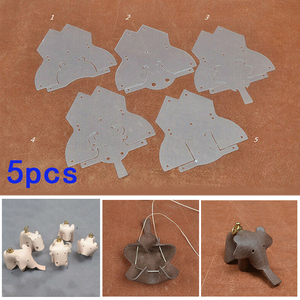 5pcs PVC Leather Craft Template Animal Sewing Pattern Stencils Craft Making DIY Handmade Leather Elephant Ornaments Pendant