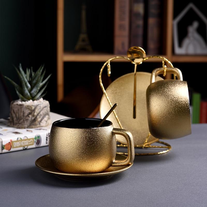 Bur Dubai Luxury Noble Golden Coffee Cup Saucer Set Pottery Frosted Matte Tea Tumbler Latte Espresso Mug Tazas Tasse Free Spoon
