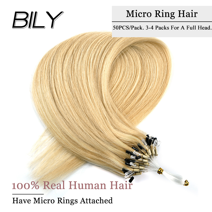 BILY Indian Straight Blonde Loop Micro Ring Hair Micro Bead Links Hair Extensions Machine Remy Human Hair 16