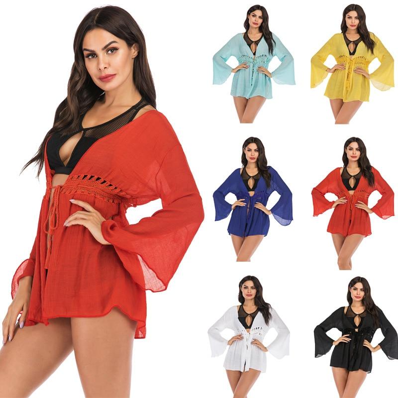 INS Seaside Holiday Beach Bikini Cover-up Swimsuit Outdoor Women's Loose-Fit Crochet Sun Shirt Jacket