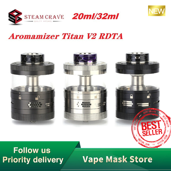 Steam Crave Aromamizer Titan V2 RDTA Atomizer 20ml / 32ml Capacity & 41mm Diameter Postless Build Deck E-cig Vape Tank vs Ragnar