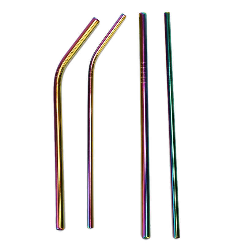 Colorful 304 Canudos De Aço Inoxidável Reutilizável Hetero Bent Metal Partido Straw Bar Acessório