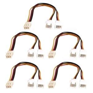 5 pces 3 pinos fêmea ao cabo de extensão masculino duplo 20cm do divisor do fã do pc