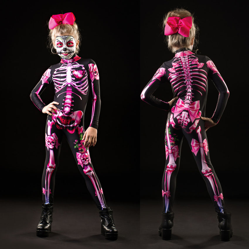 Jumpsuit Scary Costume Skull Rose Halloween Skeleton Print Cosplay Pink Women Sexy Adult