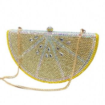 Wzór cytryny torby wieczorowe damskie torebki na ramię na 2020 Fashion Diamonds luksusowa torebka metalowe designerskie torby kobiece kopertówki tanie i dobre opinie Sprzęgło Torebki wieczorowe Hasp HARD Solidna torba Moda Z0189 Skóra syntetyczna Wszechstronny WOMEN fruit Pojedyncze