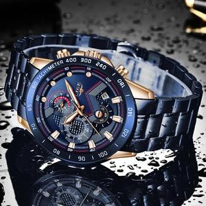 Image 3 - 2019 LIGE New Blue Fashion Business Clock Mens Watches Top Brand Luxury All Steel Waterproof Quartz Gold Watch Relogio Masculino