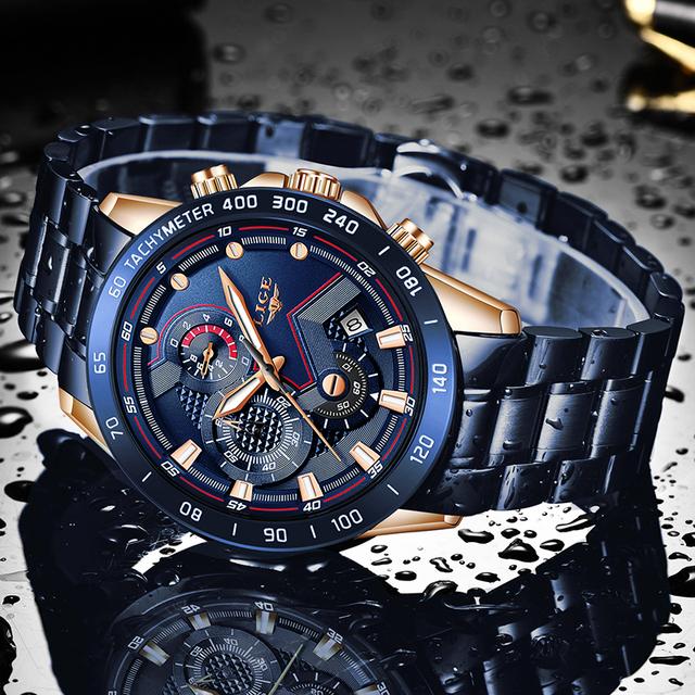 Reloj nuevo personas de negocios moda azul relojes para hombre de primera marca de lujo todo acero resistente al agua reloj de oro de cuarzo