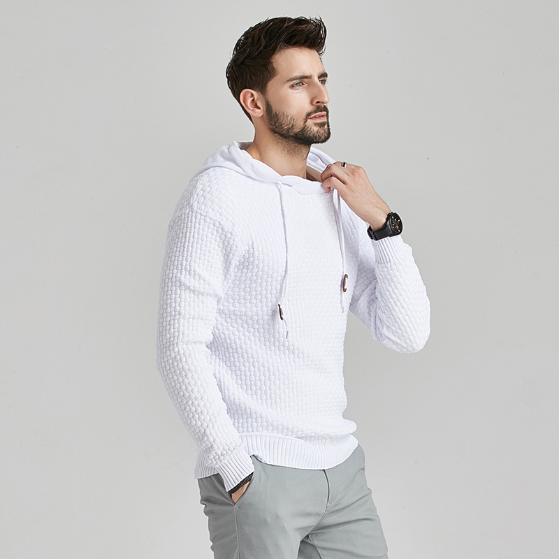 2020 New Men Winter Warm Hoodies Fashion Casual Knit Sweater Men High Quality Autumn Slim Hooded Men Sweater Pullover Coat 4