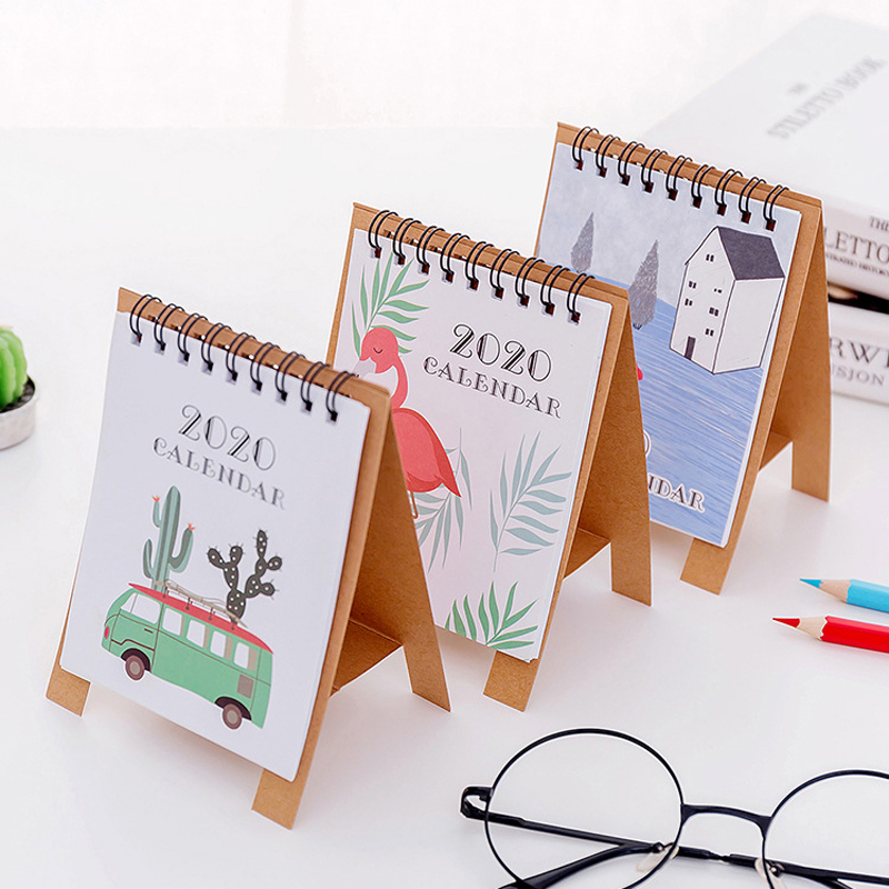 2020 Fresh Cartoon Mini Flamingo Desktop Calendar Hand Drawing Paper Dual Daily Scheduler Table Planner Yearly Agenda Organizer