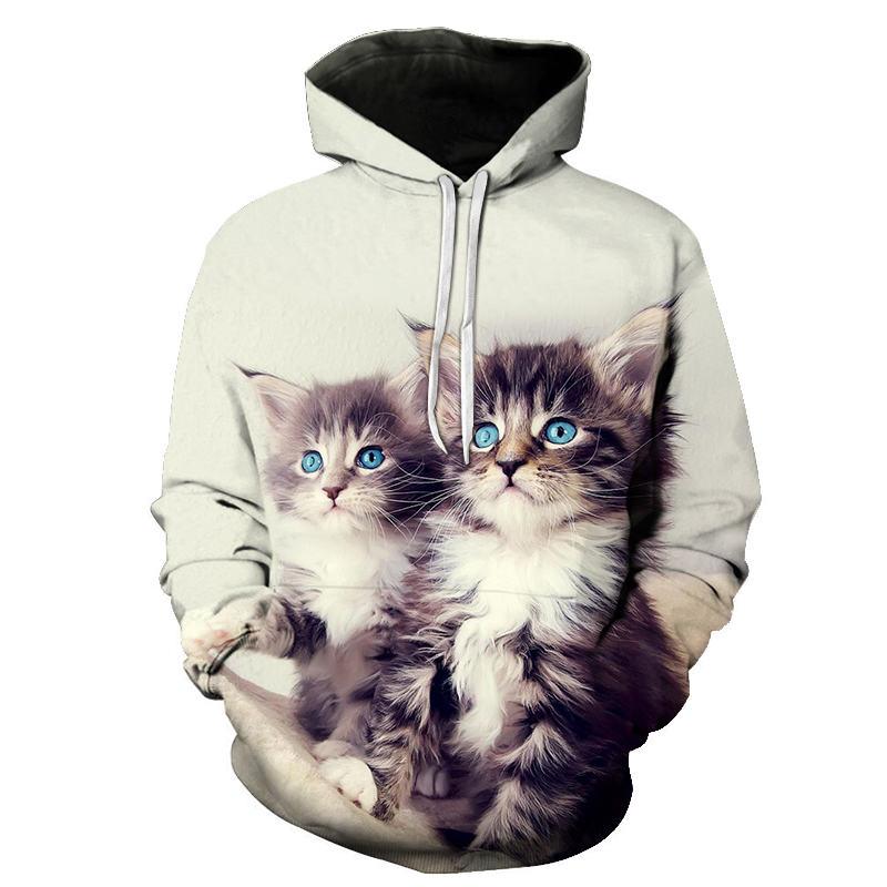 Women's Two Cat Sweatshirts Long Sleeve 3D Hoodies Sweatshirt Pullover Tops Blouse Pullover Hoodie Poleron mujer Confidante Tops 99