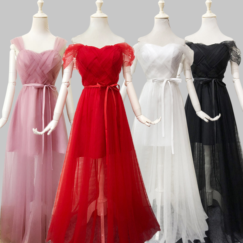 Red  Bridesmaid Dress Floor Length Prom Sister Guest Wedding Party Dress Elegant Pink And Black Wedding Dress Sexy Prom Vestidos