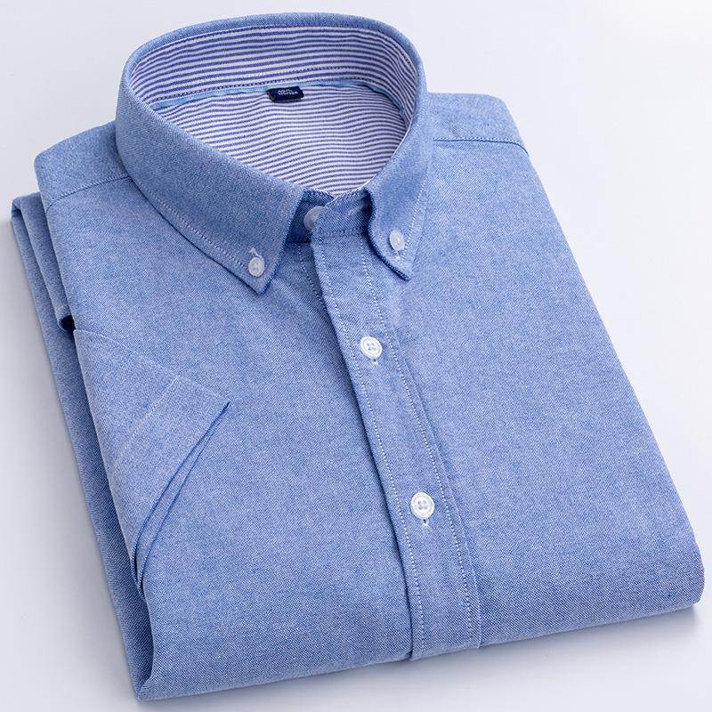 For Summer 100% Washed Cotton Soft Oxford men's solid Casual Shirts Short Sleeve Easy care Thin Cool Breathable Pocketless male