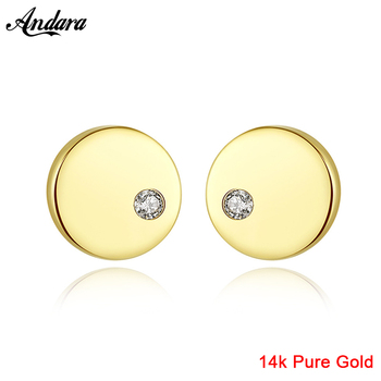 2019 New Pure 14K Gold Jewelry Earrings Simple Round Shape Stud Earrings for Women Engagement Jewelry Gift