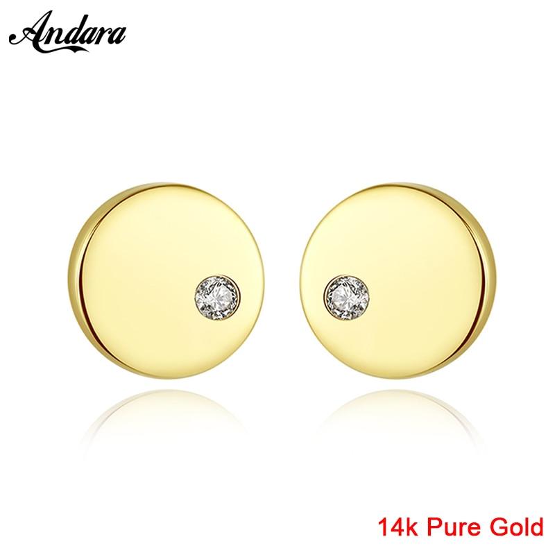 2019 nouveau pur 14K or bijoux boucles d'oreilles Simple forme ronde boucles d'oreilles pour les femmes bijoux de fiançailles cadeau