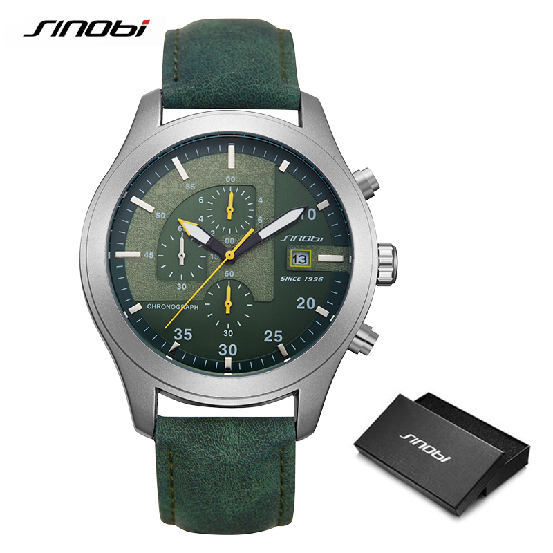 SINOBI Chronograph Calendar Waterproof Geneva Quartz Clock Military Hora Relogio Masculino Big Dial Sports Quartz Watches 2020