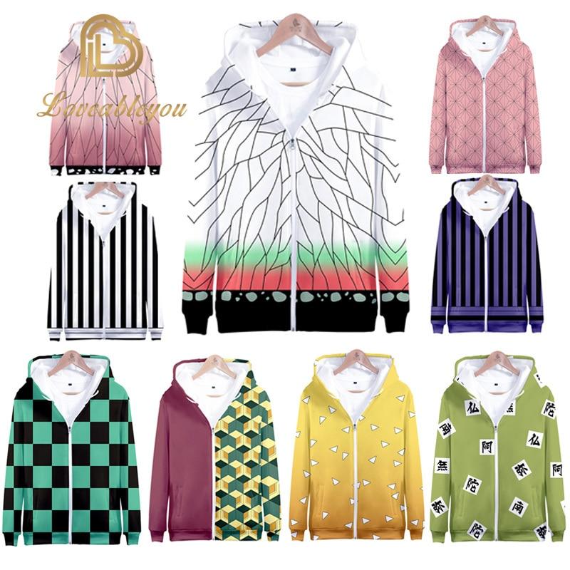 Jackets Coats Demon Slayer: Kimetsu No Yaiba Hoodie Kamado Tanjirou Kamado Nezuko Sabito Iguro Obanai Cosplay Hooded Sweatshirts