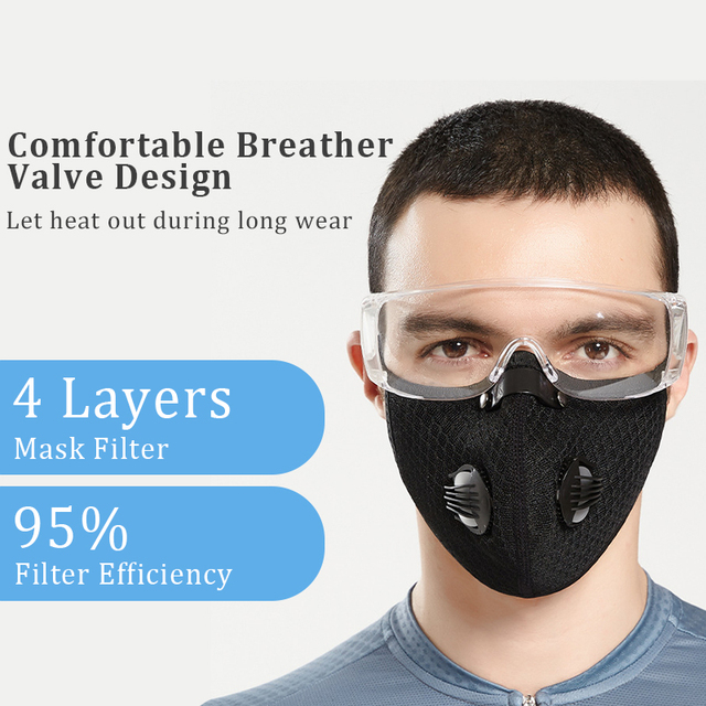 Hango Reusable Face Mask Protective PM2.5 Cycling Tactical Sports Mask with Filter Washable Fabric Masks Men Face Cover Shield 1