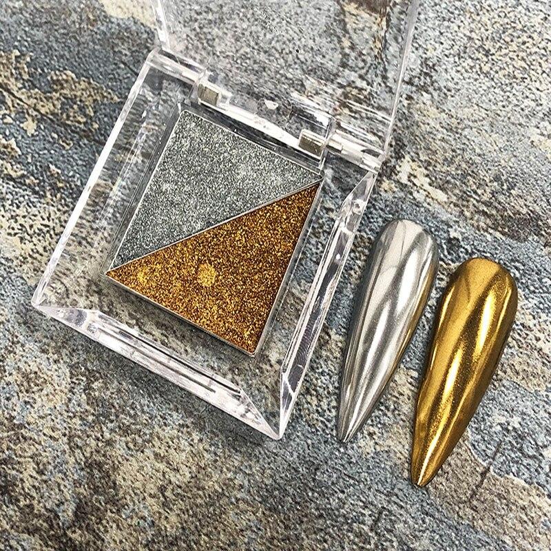 2 Colors Nail Art Magic Mirror Powder Solid Sparkly Holographic Dust Pigment Metallic Glitter Powder Ultra-Fine Flashing Glitter