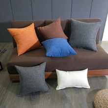 Cushion Cotton Linen Style Pillowcase + Pillow Core 6 Solid Color Super Soft Thickening Removable And Washable