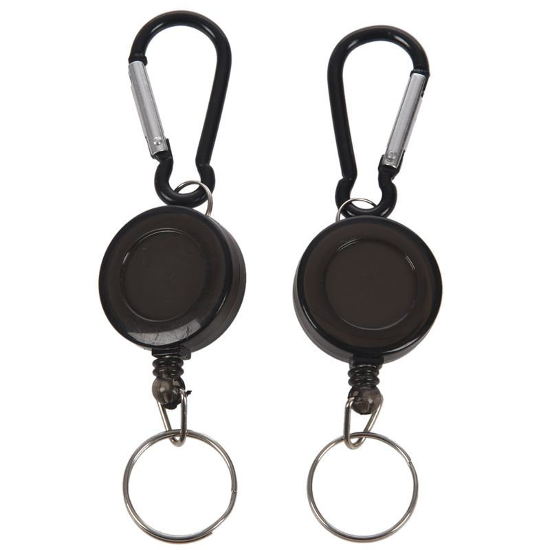 2 PCS BADGE REEL - RETRACTABLE RECOIL YOYO SKI PASS ID CARD HOLDER KEY CHAIN Color:Black Amount:2Pcs