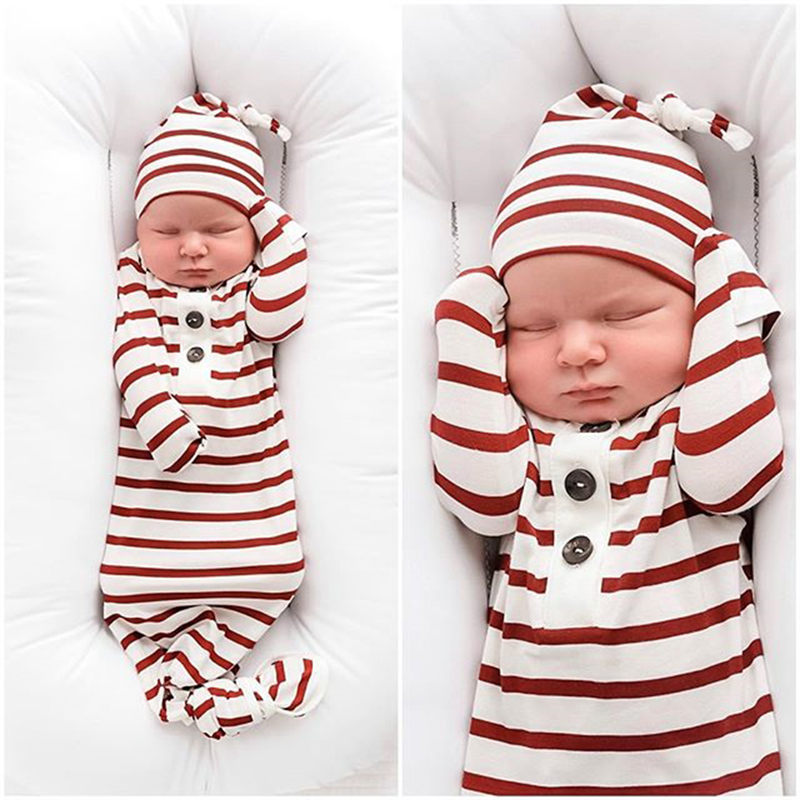 Christmas Newborn Infant Baby Girls Striped Sleeping Swaddle Bag Blanket With Hat 2Pcs