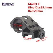 45 Degress Offset Rifle linterna antorcha láser montaje 25,4mm/30mm anillo Picatinny Rial 20mm fusil tejedor mirilla pistola