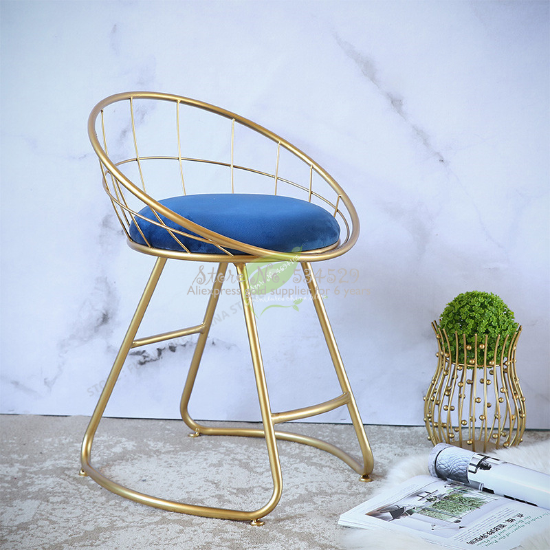 Modern Bar Stool Iron Bar Chair Bar Stool Seat Beauty Salon Furniture Make Up Chair Modern Simplicity Ins Soft Case Armchair