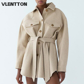 Autumn Winter Women's Vintage Woolen Coat Chic Sashes Long Sleeve Elegant Shirt Jacket Female Outwear Tops Casual Loose Overcoat 1