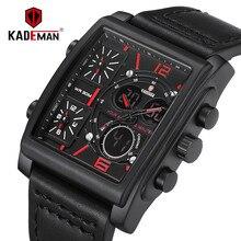 KADEMAN Men Watches Sport Military Square Quartz Watch Waterproof Male 3 Time Zones Display Digital Wristwatch Relogio Masculino