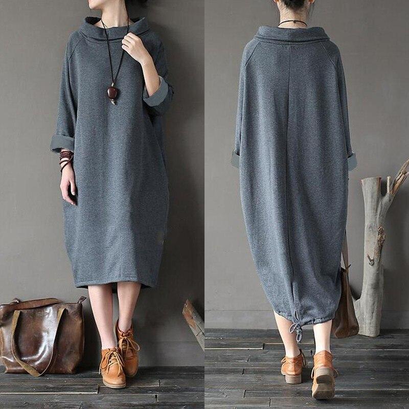 Vintage Women's Turtleneck Sundress ZANZEA 2019 Autumn Sweatshirt Dress Casual Hoodies Pullovers Female Irregular Robe Plus Size