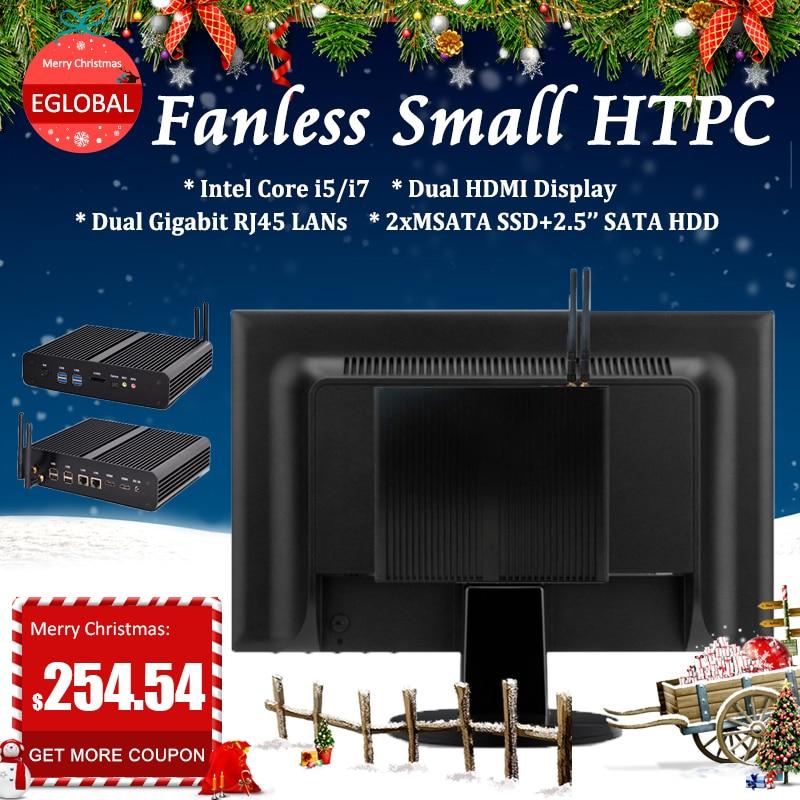 EGLOBAL Personal Computer Dual Lan HDMI COM Fanless Mini PC Intel Core I7 5550U I3 5005 I5 5200U CPU Gaming Computer