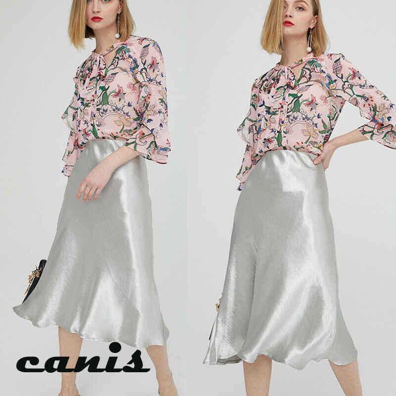 Kobiety Satin Silk spódnica nowy Sexy ciało stałe kolor Midi spódnice damskie modne elegancka linia błyszczące podkoszulki lato gorąca sprzedaży