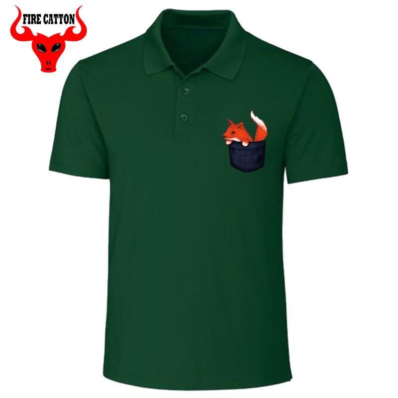 Vintage Cute Foxy   Polo   shirt men Little pocket Fox   polo   shirts women Kawaii animal printed shirt for male Retro fashion Tops tee