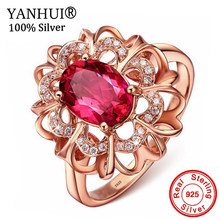 YANHUI Prinzessin Diana William Kate 2ct Roten Kristall Rubin Ring Fashion Rose Gold Farbe Engagement Silber 925 Ringe Für Frauen r196(China)
